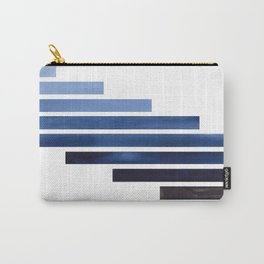 Navy Purple Blue Midcentury Modern Minimalist Staggered Stripes Rectangle Geometric Aztec Pattern Wa Carry-All Pouch