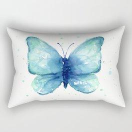 Blue Butterfly Watercolor Rectangular Pillow