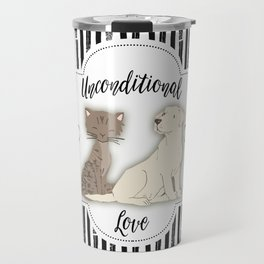 Unconditional Love Cat and Dog as Family Members Stripes Travel Mug
