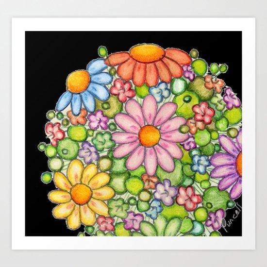 Colorful Orb on Black Art Print