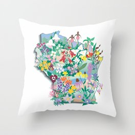 Wisconsin Wildflowers Throw Pillow
