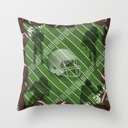 Football Field with Players and Helmet Throw Pillow