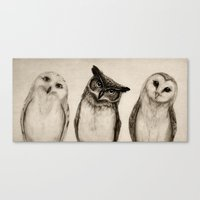 sketch Canvas Prints featuring The Owl's 3 by Isaiah K. Stephens