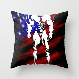 BODY BUILDING. I LOVE GHISA. with USA flag Throw Pillow