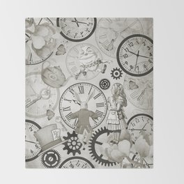 Wonderland Time - Vintage Black & White Throw Blanket