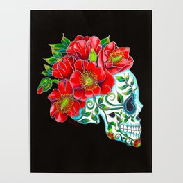 Sugar Skull with Red Poppies Poster