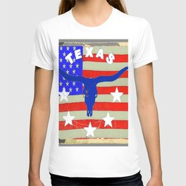 Western Patriotic Texas Longhorn Logo Pattern Art T-shirt