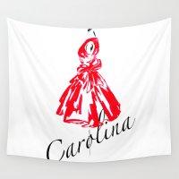 dress Wall Tapestries featuring Carolina Dress  by Koma Art