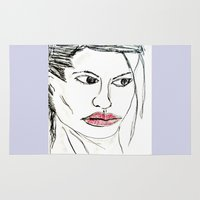 angelina jolie Area & Throw Rugs featuring ANGELINA JOLIE by JANUARY FROST