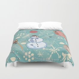 Seamless Winter Pattern with Christmas Ornaments Duvet Cover
