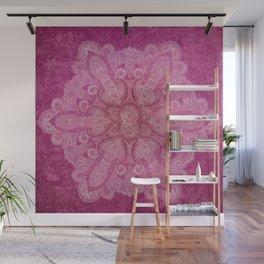 Big paisley mandala in raspberry Wall Mural
