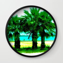 Tropical Tree Trio Wall Clock