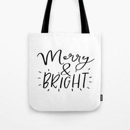 Merry and Bright Svg - Digital File - Clip Art - SVG, PNG, JPG, - Personal and Commercial Use - Arts Tote Bag