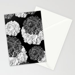 CABBAGE ROSES BLACK AND WHITE Stationery Cards