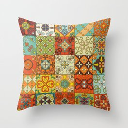 Vintage mosaic talavera ornament Throw Pillow