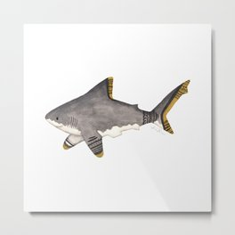 Tribal Shark Metal Print