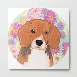 Beagle with floral background, original artwork Metal Print