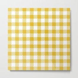 Plaid Pattern 512 Mustard Yellow Metal Print
