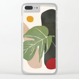 Abstract Monstera Leaf Clear iPhone Case