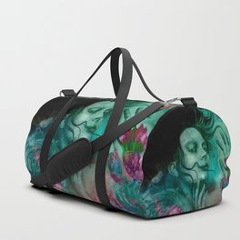 """Sirena between pastel cactus flowers"" Duffle Bag"