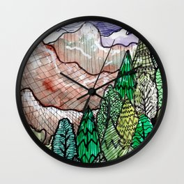 landscape forest montain pines Wall Clock