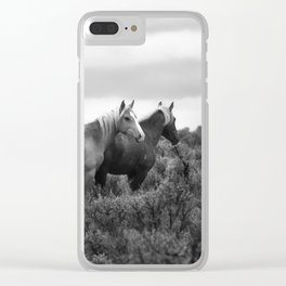 Palomino Buttes Herd - Wild Horses BW Clear iPhone Case