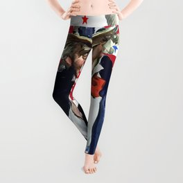 Uncle Sam I Want You With Stars and Stripes Background Leggings
