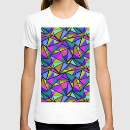 An abstract geometric pattern . Brightly colored triangles . T-shirt