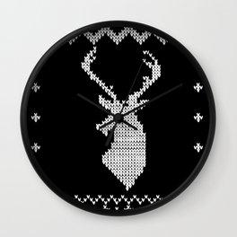 Christmas xmas deer reindeer knitting pattern Wall Clock
