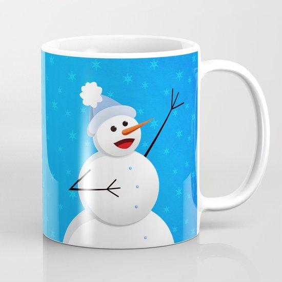 Blue Happy Singing Snowman Mug