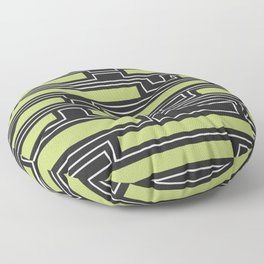 Geometry, black, white and olive green Floor Pillow