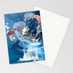 Dolphin jumping by a heart Stationery Cards
