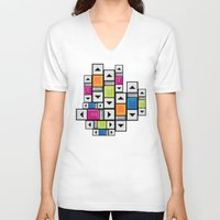 popart V-neck T-shirts featuring ScrollBar PopArt by Roberlan Borges
