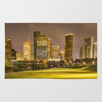 houston Area & Throw Rugs featuring houston skyline by franckreporter