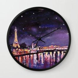 Paris at Night Wall Clock