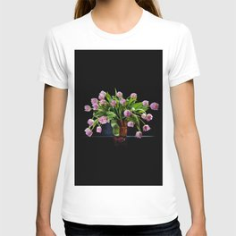 Pink tulips bouquet in glass vase T-shirt