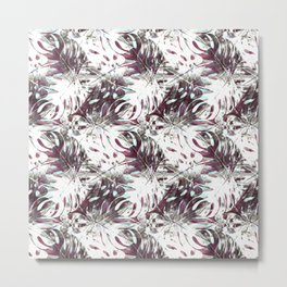 Pattern of white monstera and garnets Metal Print