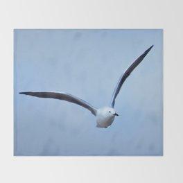 Seagull in flight Throw Blanket