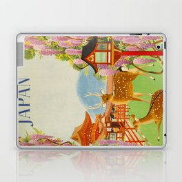 Vintage Mid Century Modern Japan Travel Poster Deer Red Pagoda Wisteria Garden Laptop & iPad Skin