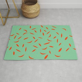 Green with red leaves Rug