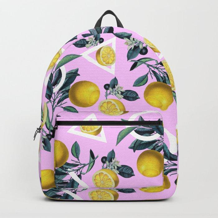 Geometric and Lemon pattern Backpack