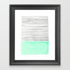 Stripes and watercolor Framed Art Print