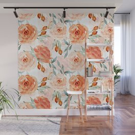 Living Coral Autumnal Roses Wall Mural