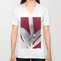 burgundy V-neck T-shirts featuring Green Fern on Burgundy Wine by ANoelleJay