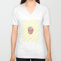 "french fries V-neck T-shirts featuring ""french"" fries by luoyunl"