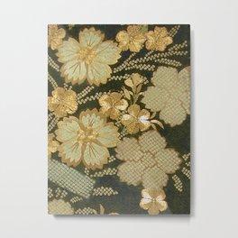 Edo Period Floral Kimono Fragment Print Metal Print