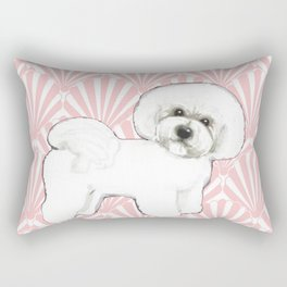 Bichon Frise at the beach / seashell pink Rectangular Pillow