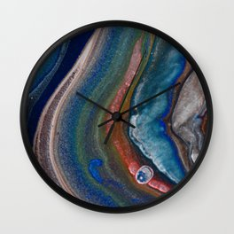 Dark Blue Metallic Fluid Pour Flow Wall Clock