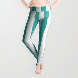 Narrow Vertical Stripes - White and Verdigris Leggings