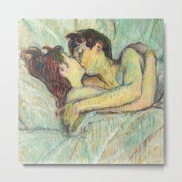 """Henri de Toulouse-Lautrec """"In Bed: The Kiss"""" Metal Print"""